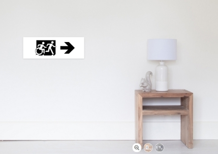 Accessible Means of Egress Icon Exit Sign Wheelchair Wheelie Running Man Symbol by Lee Wilson PWD Disability Emergency Evacuation Poster 126