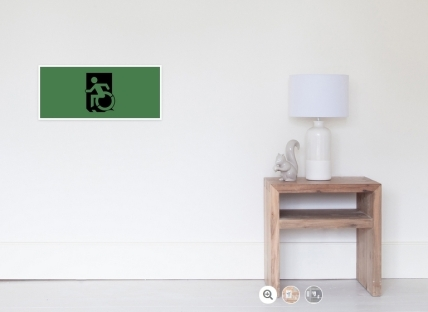 Accessible Means of Egress Icon Exit Sign Wheelchair Wheelie Running Man Symbol by Lee Wilson PWD Disability Emergency Evacuation Poster 23