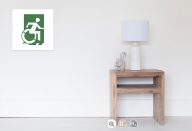 Accessible Means of Egress Icon Exit Sign Wheelchair Wheelie Running Man Symbol by Lee Wilson PWD Disability Emergency Evacuation Poster 28