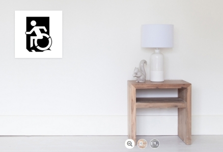 Accessible Means of Egress Icon Exit Sign Wheelchair Wheelie Running Man Symbol by Lee Wilson PWD Disability Emergency Evacuation Poster 31