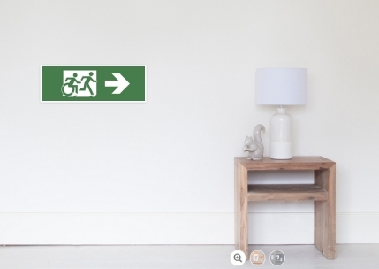 Accessible Means of Egress Icon Exit Sign Wheelchair Wheelie Running Man Symbol by Lee Wilson PWD Disability Emergency Evacuation Poster 40