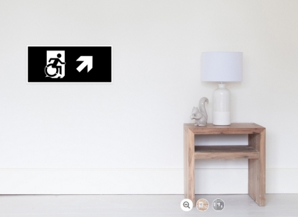 Accessible Means of Egress Icon Exit Sign Wheelchair Wheelie Running Man Symbol by Lee Wilson PWD Disability Emergency Evacuation Poster 46
