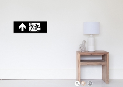 Accessible Means of Egress Icon Exit Sign Wheelchair Wheelie Running Man Symbol by Lee Wilson PWD Disability Emergency Evacuation Poster 59