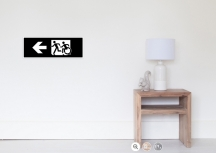 Accessible Means of Egress Icon Exit Sign Wheelchair Wheelie Running Man Symbol by Lee Wilson PWD Disability Emergency Evacuation Poster 60