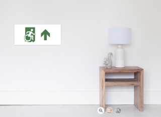 Accessible Means of Egress Icon Exit Sign Wheelchair Wheelie Running Man Symbol by Lee Wilson PWD Disability Emergency Evacuation Poster 85