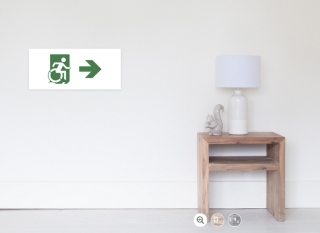 Accessible Means of Egress Icon Exit Sign Wheelchair Wheelie Running Man Symbol by Lee Wilson PWD Disability Emergency Evacuation Poster 86