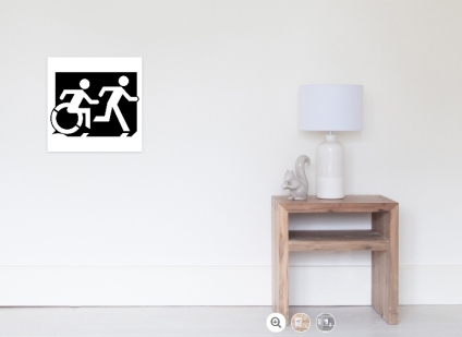 Accessible Means of Egress Icon Exit Sign Wheelchair Wheelie Running Man Symbol by Lee Wilson PWD Disability Emergency Evacuation Poster 88