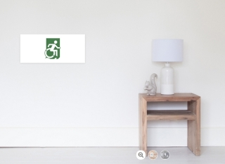 Accessible Means of Egress Icon Exit Sign Wheelchair Wheelie Running Man Symbol by Lee Wilson PWD Disability Emergency Evacuation Poster 90