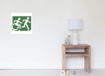 Accessible Means of Egress Icon Exit Sign Wheelchair Wheelie Running Man Symbol by Lee Wilson PWD Disability Emergency Evacuation Poster 92