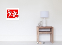Accessible Means of Egress Icon Exit Sign Wheelchair Wheelie Running Man Symbol by Lee Wilson PWD Disability Emergency Evacuation Poster 94