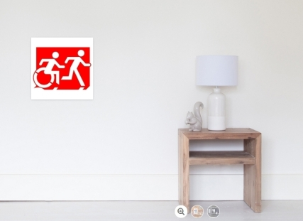 Accessible Means of Egress Icon Exit Sign Wheelchair Wheelie Running Man Symbol by Lee Wilson PWD Disability Emergency Evacuation Poster 97