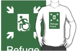 Accessible Means of Egress Icon Exit Sign Wheelchair Wheelie Running Man Symbol by Lee Wilson PWD Disability Emergency Evacuation Refuge Area Adult t-shirt 2