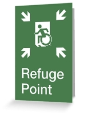 Accessible Means of Egress Icon Exit Sign Wheelchair Wheelie Running Man Symbol by Lee Wilson PWD Disability Emergency Evacuation Refuge Area Greeting Card 1