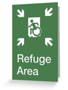 Accessible Means of Egress Icon Exit Sign Wheelchair Wheelie Running Man Symbol by Lee Wilson PWD Disability Emergency Evacuation Refuge Area Greeting Card 2