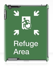 Accessible Means of Egress Icon Exit Sign Wheelchair Wheelie Running Man Symbol by Lee Wilson PWD Disability Emergency Evacuation Refuge Area iPad Case 1