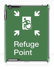 Accessible Means of Egress Icon Exit Sign Wheelchair Wheelie Running Man Symbol by Lee Wilson PWD Disability Emergency Evacuation Refuge Area iPad Case 2
