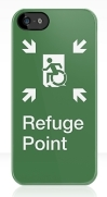 Accessible Means of Egress Icon Exit Sign Wheelchair Wheelie Running Man Symbol by Lee Wilson PWD Disability Emergency Evacuation Refuge Area iPhone Case 1