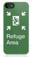 Accessible Means of Egress Icon Exit Sign Wheelchair Wheelie Running Man Symbol by Lee Wilson PWD Disability Emergency Evacuation Refuge Area iPhone Case 2