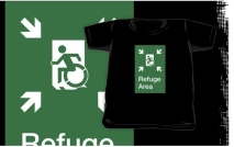 Accessible Means of Egress Icon Exit Sign Wheelchair Wheelie Running Man Symbol by Lee Wilson PWD Disability Emergency Evacuation Refuge Area Kids T-shirt 1