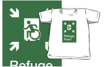 Accessible Means of Egress Icon Exit Sign Wheelchair Wheelie Running Man Symbol by Lee Wilson PWD Disability Emergency Evacuation Refuge Area Kids T-shirt 2