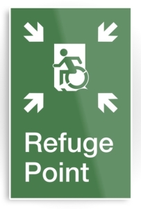 Accessible Means of Egress Icon Exit Sign Wheelchair Wheelie Running Man Symbol by Lee Wilson PWD Disability Emergency Evacuation Refuge Area Metal Printed 1