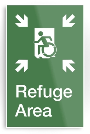 Accessible Means of Egress Icon Exit Sign Wheelchair Wheelie Running Man Symbol by Lee Wilson PWD Disability Emergency Evacuation Refuge Area Metal Printed 2