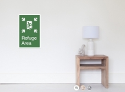Accessible Means of Egress Icon Exit Sign Wheelchair Wheelie Running Man Symbol by Lee Wilson PWD Disability Emergency Evacuation Refuge Area Poster 1