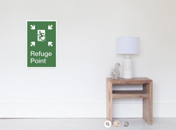 Accessible Means of Egress Icon Exit Sign Wheelchair Wheelie Running Man Symbol by Lee Wilson PWD Disability Emergency Evacuation Refuge Area Poster 2