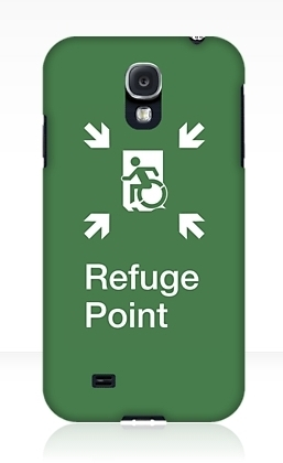 Accessible Means of Egress Icon Exit Sign Wheelchair Wheelie Running Man Symbol by Lee Wilson PWD Disability Emergency Evacuation Refuge Area Samsung Galaxy Case 1