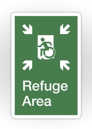 Accessible Means of Egress Icon Exit Sign Wheelchair Wheelie Running Man Symbol by Lee Wilson PWD Disability Emergency Evacuation Refuge Area Sticker 1