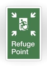 Accessible Means of Egress Icon Exit Sign Wheelchair Wheelie Running Man Symbol by Lee Wilson PWD Disability Emergency Evacuation Refuge Area Sticker 2