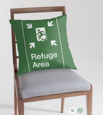 Accessible Means of Egress Icon Exit Sign Wheelchair Wheelie Running Man Symbol by Lee Wilson PWD Disability Emergency Evacuation Refuge Area Throw Pillow 2