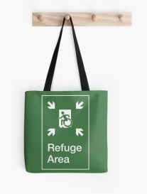 Accessible Means of Egress Icon Exit Sign Wheelchair Wheelie Running Man Symbol by Lee Wilson PWD Disability Emergency Evacuation Refuge Area Tote Bag 1