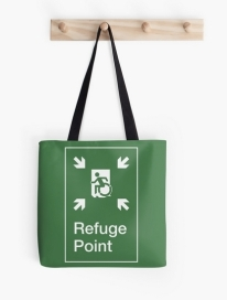 Accessible Means of Egress Icon Exit Sign Wheelchair Wheelie Running Man Symbol by Lee Wilson PWD Disability Emergency Evacuation Refuge Area Tote Bag 2