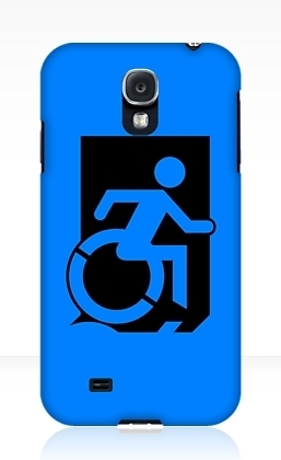Accessible Means of Egress Icon Exit Sign Wheelchair Wheelie Running Man Symbol by Lee Wilson PWD Disability Emergency Evacuation Samsung Galaxy Case 1