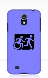 Accessible Means of Egress Icon Exit Sign Wheelchair Wheelie Running Man Symbol by Lee Wilson PWD Disability Emergency Evacuation Samsung Galaxy Case 100