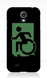 Accessible Means of Egress Icon Exit Sign Wheelchair Wheelie Running Man Symbol by Lee Wilson PWD Disability Emergency Evacuation Samsung Galaxy Case 101