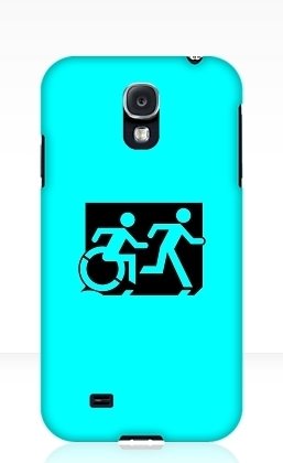 Accessible Means of Egress Icon Exit Sign Wheelchair Wheelie Running Man Symbol by Lee Wilson PWD Disability Emergency Evacuation Samsung Galaxy Case 102
