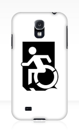 Accessible Means of Egress Icon Exit Sign Wheelchair Wheelie Running Man Symbol by Lee Wilson PWD Disability Emergency Evacuation Samsung Galaxy Case 103