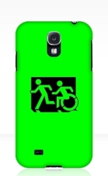 Accessible Means of Egress Icon Exit Sign Wheelchair Wheelie Running Man Symbol by Lee Wilson PWD Disability Emergency Evacuation Samsung Galaxy Case 104