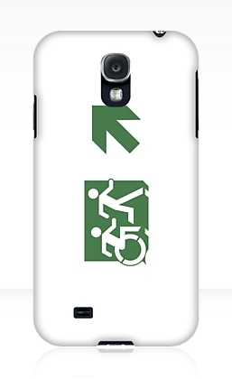 Accessible Means of Egress Icon Exit Sign Wheelchair Wheelie Running Man Symbol by Lee Wilson PWD Disability Emergency Evacuation Samsung Galaxy Case 105