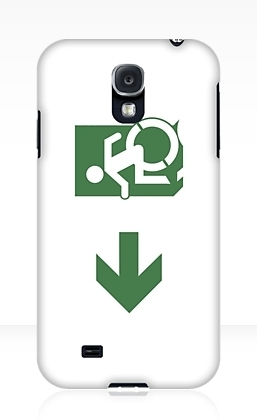 Accessible Means of Egress Icon Exit Sign Wheelchair Wheelie Running Man Symbol by Lee Wilson PWD Disability Emergency Evacuation Samsung Galaxy Case 106