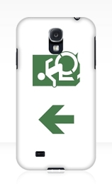 Accessible Means of Egress Icon Exit Sign Wheelchair Wheelie Running Man Symbol by Lee Wilson PWD Disability Emergency Evacuation Samsung Galaxy Case 107