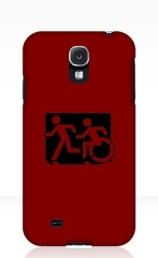 Accessible Means of Egress Icon Exit Sign Wheelchair Wheelie Running Man Symbol by Lee Wilson PWD Disability Emergency Evacuation Samsung Galaxy Case 108