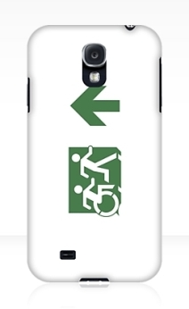 Accessible Means of Egress Icon Exit Sign Wheelchair Wheelie Running Man Symbol by Lee Wilson PWD Disability Emergency Evacuation Samsung Galaxy Case 109