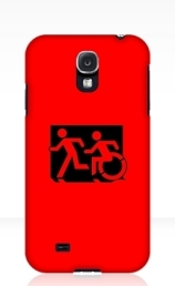 Accessible Means of Egress Icon Exit Sign Wheelchair Wheelie Running Man Symbol by Lee Wilson PWD Disability Emergency Evacuation Samsung Galaxy Case 110