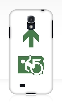 Accessible Means of Egress Icon Exit Sign Wheelchair Wheelie Running Man Symbol by Lee Wilson PWD Disability Emergency Evacuation Samsung Galaxy Case 112