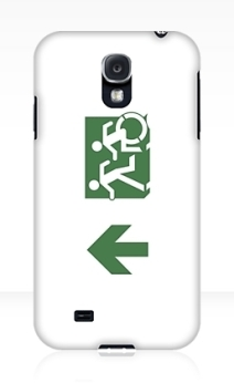 Accessible Means of Egress Icon Exit Sign Wheelchair Wheelie Running Man Symbol by Lee Wilson PWD Disability Emergency Evacuation Samsung Galaxy Case 113