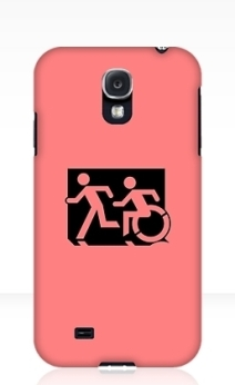 Accessible Means of Egress Icon Exit Sign Wheelchair Wheelie Running Man Symbol by Lee Wilson PWD Disability Emergency Evacuation Samsung Galaxy Case 114