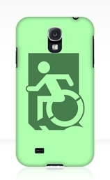 Accessible Means of Egress Icon Exit Sign Wheelchair Wheelie Running Man Symbol by Lee Wilson PWD Disability Emergency Evacuation Samsung Galaxy Case 115